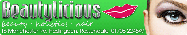 Advertising banner for Beautylicious in Rossendale