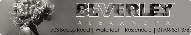 Advertising banner for Beverley Alexandra Hairdressers in Rossendale
