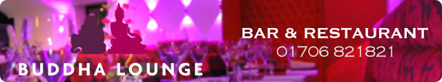 Advertising banner for Buddha Lounge Bar & Restaurant in Ramsbottom