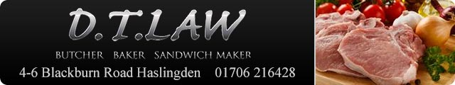 Advertising banner for D.T. Law Butchers in Rossendale