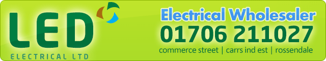 Advertising banner for LED Electrical Ltd in Rossendale