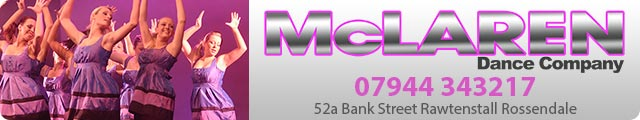 Advertising banner for McLaren Dance Company in Rossendale