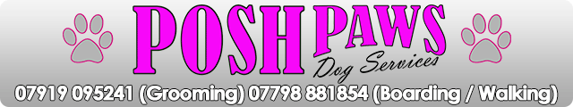 Advertising banner for Posh Paws Dog Services in Rossendale