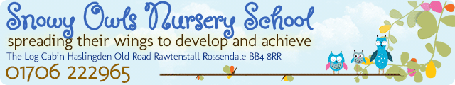 Advertising banner for Snowy Owls Nursery in Rossendale