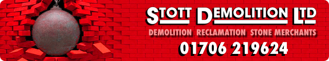 Advertising banner for Stott Demolition in Rossendale