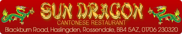Advertising banner for Sun Dragon Cantonese Restaurant in Rossendale